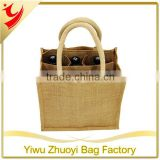 Jute 6 Beer Bottle Wine Carrier Bag with Dividers and 40cm Padded Handle