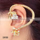 2015 New gold butterfly shape crystal stud cuff flower diamond earring