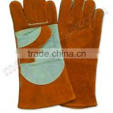 Brown Green Safety Cow Split Leather Welding Gloves