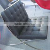 black classic Barcelona Sofa stainless steel frame leather PU sofa chair
