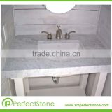 Factory Sell Carrara White Marble Counter Top In Difference Size Vanity Top Kitchen Top With Undercounter Basin