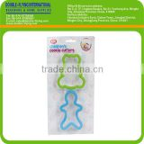 Plastic Bear & Gingerbread Man Shaped Cookie Cutter with TPR head and Cake Decoration