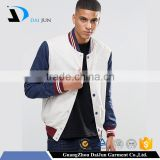 Guangzhou OEM fashion white blue sleeve 100 polyester men with button custom varsity jackets