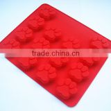 Wholesale FDA approved food grade non stick 14 pawprint handmade bar silicone soap molds