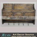 Antique wood floating wall shelf with drawers&hooks