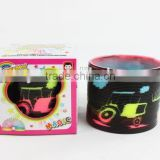 plastic magic rainbow spring toys with printed car/hot sale rainbow circle
