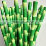 bamboo pattern paper drinking straws