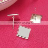 10mm Silver Plated Square Ear Studs Sawteeth Edge Blank Base Earring Tray For Cabochon Bezels Setting