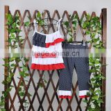 4th of July casual kids summer clothing sets wholesale sleeveless boutique outfit for girl