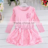 Upscale New product Three-dimensional Flowers long-sleeved birthday party young girls party dresses
