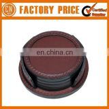 Cheap Logo Custom Embossed Leather Coaster
