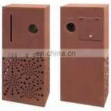 Contemporary modern geometric styling corten steel rustic letter box