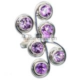 FACETED AMETHYST RING 925 SOLID STERLING,SILVER EXPORTER,STERLING SILVER JEWELRY,SILVER RING,WHOLESALE SILVER JEWELRY