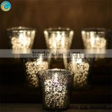 online silver mercury tea light holder / glass crystal candelabra/ glass candle cups                                                                         Quality Choice