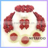 Mitaloo New Stock African Beads Bridal Jewelry Set Manufacturer Large Bead Necklace MT0002