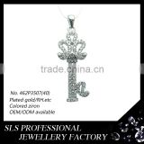 Silver 925 jewellery KEY pendant high polished back jewelry necklace whole CZ pave in the front