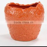 Antique bright color home Decor Ceramic Vase, Orange color Ceramic Flower Vase Estern Style, Porcelain Vase Home Decoration