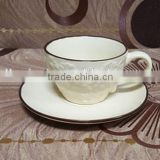 wholesale cheap white tea cups and saucers with emboss design