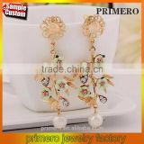 Cheap Flower Branch Rhinestone Pearl Drop Dangle Earrings Chinese Jewelry