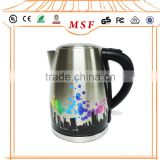 1.7L Beautiful Painting Flower White Color CE CB Inox Electric Kettle
