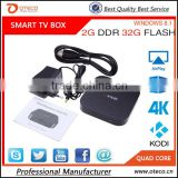 New TV Box Windows10 OS and rooted Android 4.4.4 Dual system MINI PC Intel Quad Core CPU 2G+32G Wintel TV Box multimedia player