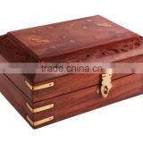Store Indya Beautiful Hand Carved Wooden Jewelry Box with Brass Inlay & Velvet Interior