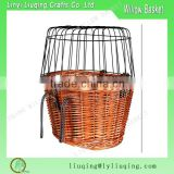 wholesale willow wicker dog bike basket dog carrier tote with Safety Cage Cover and hook