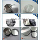 Chinese alibaba supplier 50g,100g custom empty blank small aluminum can container with screw cap logo primtings