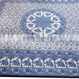 RTBS-5 Rajasthani Traditional Printed Elephant Queen Size Royal Look Bedsheet Home Bed Spread Mandala Handwork From Jaipur