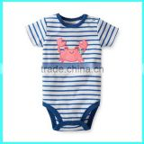 China factory wholesale baby striped bodysuit short sleeve baby one piece embroidered baby suit