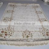 hand knotted art wool&silk rug beige color palace wool&silk rug factory whosale wool&silk carpet