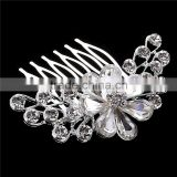 Women Wedding Jewelry Zinc Alloy Rhinestone Bride Hair Comb Accessories White Crystal Bridal Combs