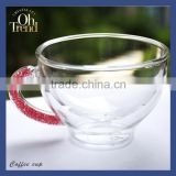 High quality promotional chinese tea cup fancy coffee cups wholesale with red diamond shank unique style