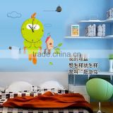 Flowers owl birds clock wall stickers decoration decor home decal fashion cute waterproof bedroom living sofa family MFS-004