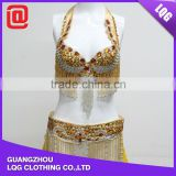 Sexy handmade rhinestone beads tassel decorated belly dance bra & hip belt sets
