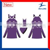 purple and white sublimation netball wear, breathable netball uniforms, cheap netball dresses