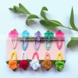 China factory price assorted modern design pink rose flower fabric hair pin wool felt clip hair with green leaf for children