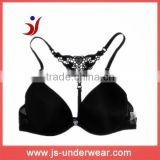 sexy bra black front closure bra lace T-back straps bra made in China manufacture (accept OEM)