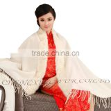 CX-B-P-41F New Product Noble Cape Brand Name Shawl Hand Made Wholesale Cashmere And Rabbit Fur Trim Cape