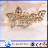 Wholesale fashion temperament types of high-end women's crystal brooch Bouquets of flowers yellow color crystal brooch