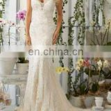 Applique Glimmer sleeveless Plunging imperial Bridal Gown
