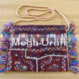 Vintage clutch/wallet bag - Boho Mirror work Wallet- Rabari Mirror Work Clutch