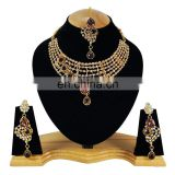 One Sided designer Purple Color Stone Gold Plated Kundan Zerconic Necklace Earrings Tikka
