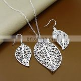 Customized popular leaf necklace long chain jewelry set bridal jewelry sets