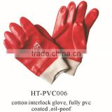 safety/PVC working gloves red PVC gloves oil proof gloves pvc fully coated wholesale in China low price