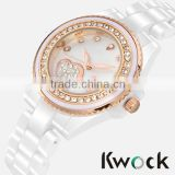 Kwock Women's Sapphire Crystal Accented Rose Gold-Tone White Ceramic Bracelet Watch