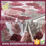 # DY027A WHOLESALE ROSETTEindia style yarn home decor PVC tablecloths made in china alibabaGOLDEN TRANSFER TABLECLOTH