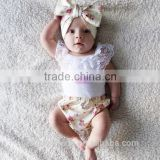baby romper sets european baby lace vest tops+broken flower pp pants + matching headbands 3pcs outfits