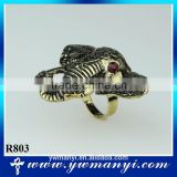 Fashion antique gold ring crystal Elephant head logo ring R803                                                                                                         Supplier's Choice