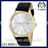 Fashion light gold 14K plating steel case watch*Mens Gold Stainless Steel Black Leather Strap Watch